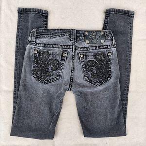 Miss Me Embellished Back Skinny Jeans Gray